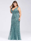 Women'S Double V-Neck Plus Size Fishtail Seuqin Evening Maxi Dress-Dusty Blue 3