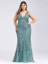 Women'S Double V-Neck Plus Size Fishtail Seuqin Evening Maxi Dress-Dusty Blue 4