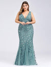 Women'S Double V-Neck Plus Size Fishtail Seuqin Evening Maxi Dress-Dusty Blue 1