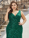 Women'S Double V-Neck Plus Size Fishtail Seuqin Evening Maxi Dress-Dark Green 5
