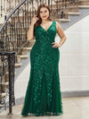 Women'S Double V-Neck Plus Size Fishtail Seuqin Evening Maxi Dress-Dark Green 1