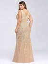 Women'S Double V-Neck Fishtail Seuqin Evening Maxi Dress-Gold 5