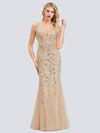 Women'S Double V-Neck Fishtail Seuqin Evening Maxi Dress-Gold 1