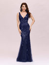Women'S Double V-Neck Fishtail Seuqin Evening Maxi Dress-Navy Blue 1