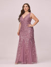 Women'S Double V-Neck Fishtail Seuqin Evening Maxi Dress-Purple Orchid 4