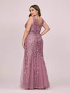 Women'S Double V-Neck Plus Size Fishtail Seuqin Evening Maxi Dress-Purple Orchid 2