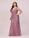 Women'S Double V-Neck Plus Size Fishtail Seuqin Evening Maxi Dress-Purple Orchid 3