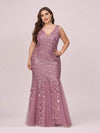 Women'S Double V-Neck Plus Size Fishtail Seuqin Evening Maxi Dress-Purple Orchid 1