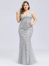 Women'S Double V-Neck Fishtail Seuqin Evening Maxi Dress-Silver 4