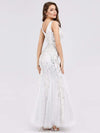 Women'S Double V-Neck Fishtail Seuqin Evening Maxi Dress-White 2