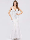 Women'S Double V-Neck Fishtail Seuqin Evening Maxi Dress-White 1