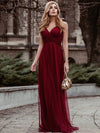 Women'S A-Line V-Neck Sleeveless Floor Length Bridesmaid Dresses-Burgundy 1