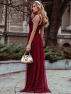Women'S A-Line V-Neck Sleeveless Floor Length Bridesmaid Dresses-Burgundy 2