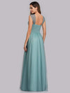Women'S A-Line V-Neck Sleeveless Floor Length Bridesmaid Dresses-Dusty Blue 3
