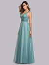 Women'S A-Line V-Neck Sleeveless Floor Length Bridesmaid Dresses-Dusty Blue 4