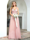 Women'S A-Line V-Neck Sleeveless Floor Length Bridesmaid Dresses-Pink 1