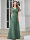 Women'S V-Neck A-Line Short Sleeve Floor-Length Bridesmaid Dress-Green Bean  10