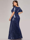 Women'S V-Neck Short Sleeve Glitter Dress Bodycon Mermaid Dress-Navy Blue 2