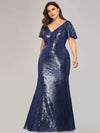 Women'S V-Neck Short Sleeve Glitter Dress Bodycon Mermaid Dress-Navy Blue 3