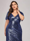 Women'S V-Neck Short Sleeve Glitter Dress Bodycon Mermaid Dress-Navy Blue 5