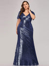 Women'S V-Neck Short Sleeve Glitter Dress Bodycon Mermaid Dress-Navy Blue 1