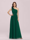 Ruched One Shoulder Evening Dress-Dark Green 1
