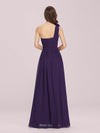 Ruched One Shoulder Evening Dress-Dark Purple 2