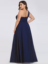Ruched One Shoulder Evening Dress-Navy Blue 6