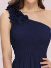 Ruched One Shoulder Evening Dress-Navy Blue 4