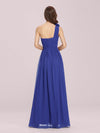 Ruched One Shoulder Evening Dress-Sapphire Blue 2