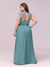 Sleeveless Grecian Style Evening Dress-Dusty Blue 2