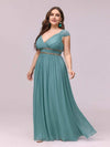 Sleeveless Grecian Style Evening Dress-Dusty Blue 1