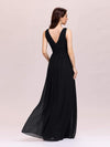 Sleeveless V-Neck Semi-Formal Chiffon Maxi Dress-Black 2