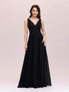 Sleeveless V-Neck Semi-Formal Chiffon Maxi Dress-Black 1