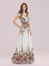 Sleeveless V-Neck Semi-Formal Chiffon Maxi Dress-Printed Cream 3