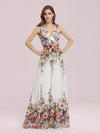 Sleeveless V-Neck Semi-Formal Chiffon Maxi Dress-Printed Cream 4