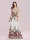 Sleeveless V-Neck Semi-Formal Chiffon Maxi Dress-Printed Cream 1