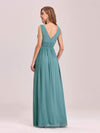 Sleeveless V-Neck Semi-Formal Chiffon Maxi Dress-Dusty Blue 2
