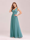 Sleeveless V-Neck Semi-Formal Chiffon Maxi Dress-Dusty Blue 3