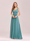 Sleeveless V-Neck Semi-Formal Chiffon Maxi Dress-Dusty Blue 1