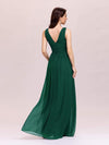 Sleeveless V-Neck Semi-Formal Chiffon Maxi Dress-Dark Green 2