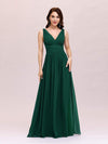 Sleeveless V-Neck Semi-Formal Chiffon Maxi Dress-Dark Green 1