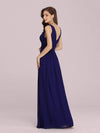 Sleeveless V-Neck Semi-Formal Chiffon Maxi Dress-Royal Blue 2