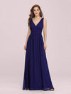 Sleeveless V-Neck Semi-Formal Chiffon Maxi Dress-Royal Blue 3