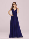 Sleeveless V-Neck Semi-Formal Chiffon Maxi Dress-Royal Blue 4