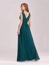 Sleeveless V-Neck Semi-Formal Chiffon Maxi Dress-Teal 2