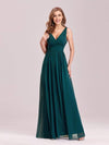 Sleeveless V-Neck Semi-Formal Chiffon Maxi Dress-Teal 3