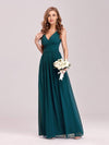 Sleeveless V-Neck Semi-Formal Chiffon Maxi Dress-Teal 4