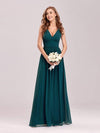 Sleeveless V-Neck Semi-Formal Chiffon Maxi Dress-Teal 1