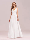 Sleeveless V-Neck Semi-Formal Chiffon Maxi Dress-White 1